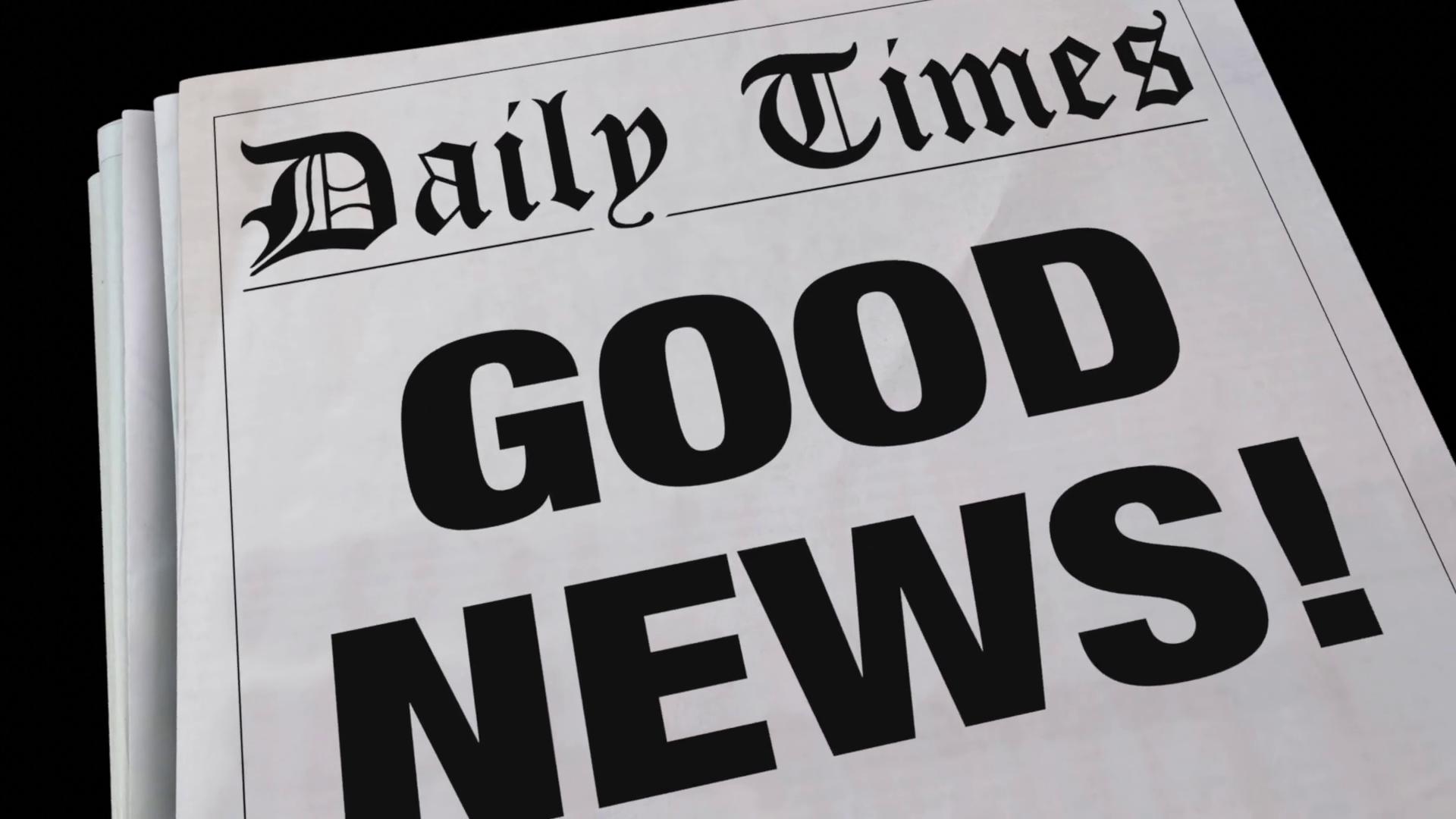 good news announcement spinning newspaper headline 3 d